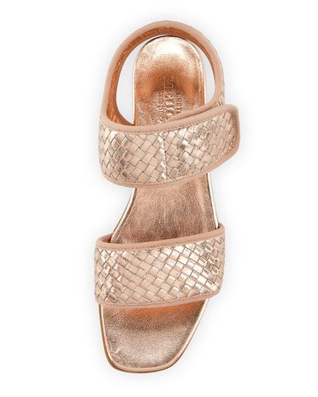 Gryta Woven Metallic Napa Leather Flat Sandal