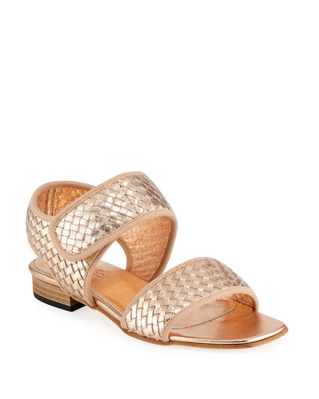 Sesto Meucci Gryta Woven Metallic Napa Leather Flat