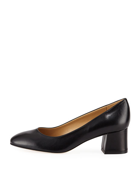 Myna Soft Napa Block-Heel Pumps
