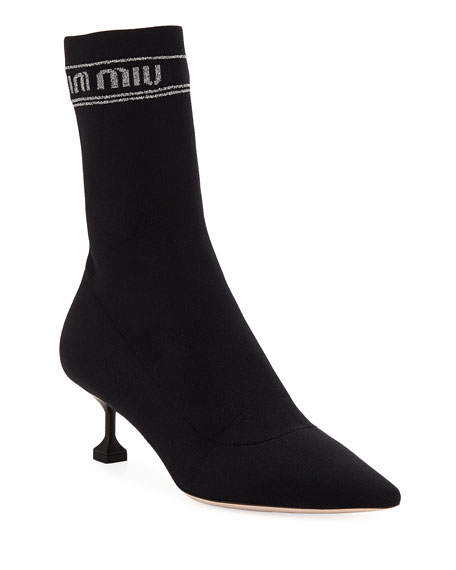 Miu Miu Tech Knit Pointed-Toe Sock Bootie