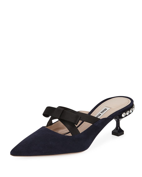 Miu Miu Suede Mule with Satin Bow