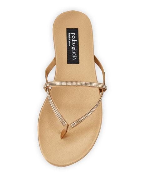 Giulia Crystal Strappy Flat Thong Slide Sandal