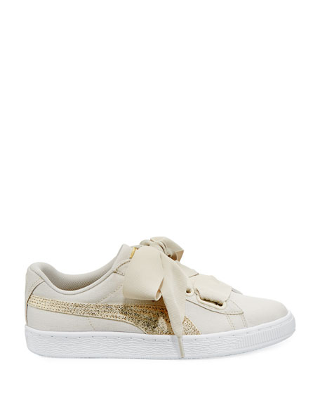 Basket Heart Canvas Sneakers, Beige