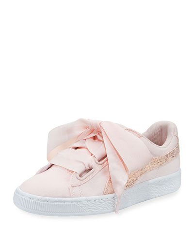 Basket Heart Canvas Sneakers, Pearl White