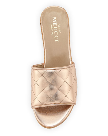 Tarie Quilted Metallic Leather Wedge Slide Sandal