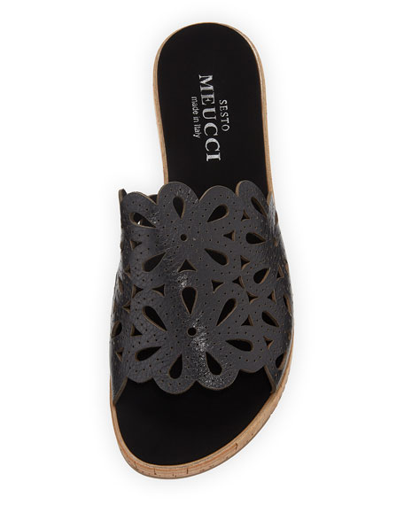 Senna Floral-Cut Leather Slide Sandal