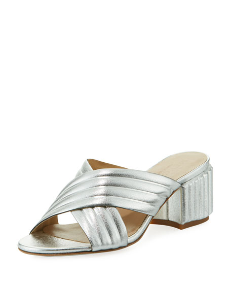 Sesto Meucci Maggy Block-Heel Metallic Leather Slide Sandal