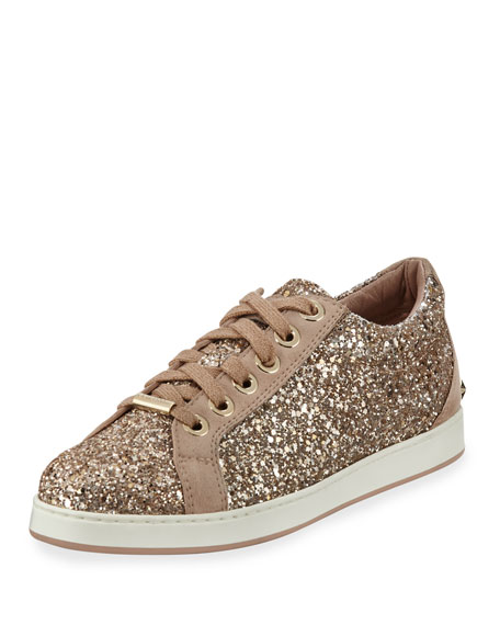 Jimmy Choo Cash Glitter Platform Low-Top Sneakers