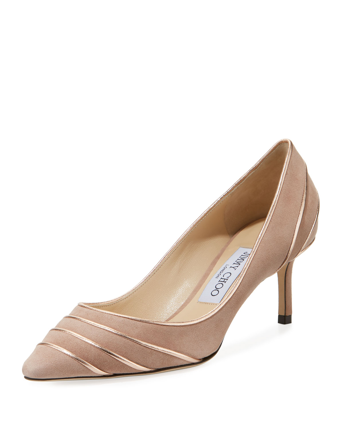 2b4ad2f0faa2 Jimmy Choo Romy 60mm Metallic Leather-Piped Suede Pumps
