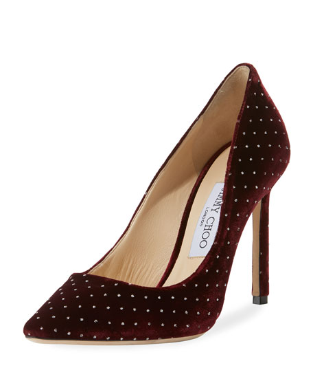 Jimmy Choo Romy 100mm Glitter Spotted Velvet Pumps
