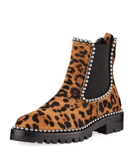 Alexander Wang Leopard Spencer Boots with Studs