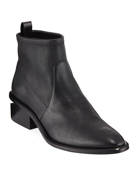 Kori Stretch-Leather Ankle Boots - Black Size 9.5