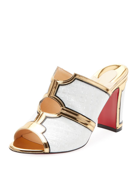 Interior Two-Tone Red Sole Mule Sandals