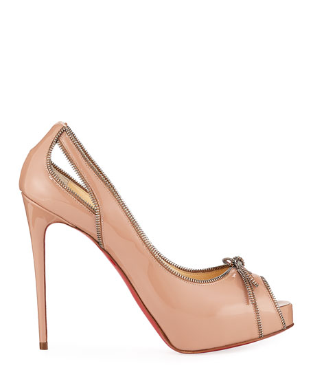 Colbina Zipper-Trim Patent Red Sole Pump