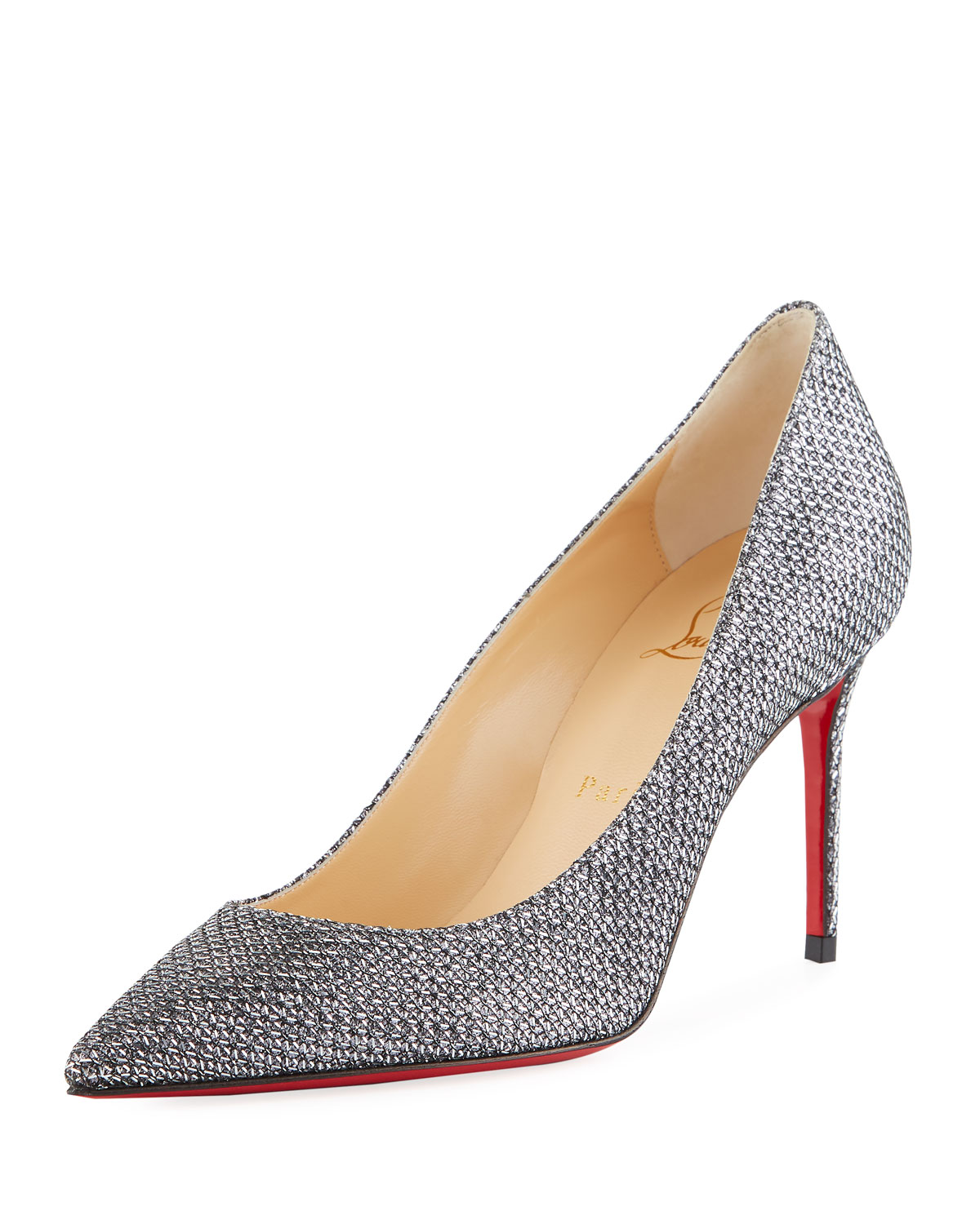 69f62d4d320a Christian LouboutinDecollete 554 Mid-Heel Metallic Fabric Red Sole Pumps