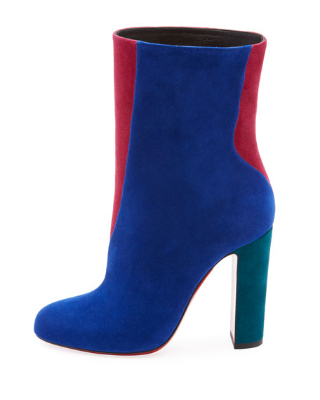Botty Double Colorblock Suede Red Sole Booties