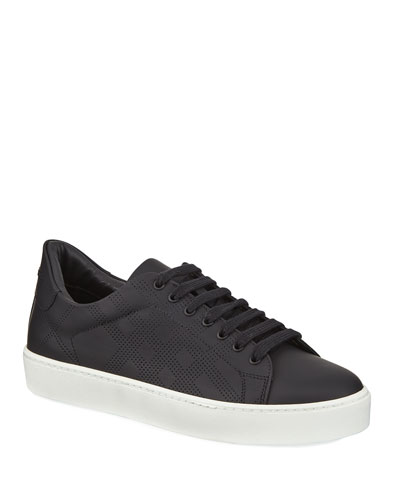 Westford Perforated Leather Low-Top Sneaker, Black