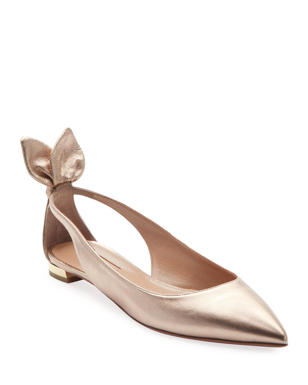 399a121ed68 Aquazzura Deneuve Metallic Leather Ballet Flats