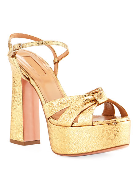 Aquazzura Baba Plateau Metallic Leather Platform Sandal