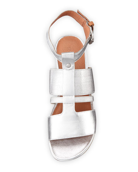 Ophelia Easy Flat Metallic Sandal with Stretch Strap