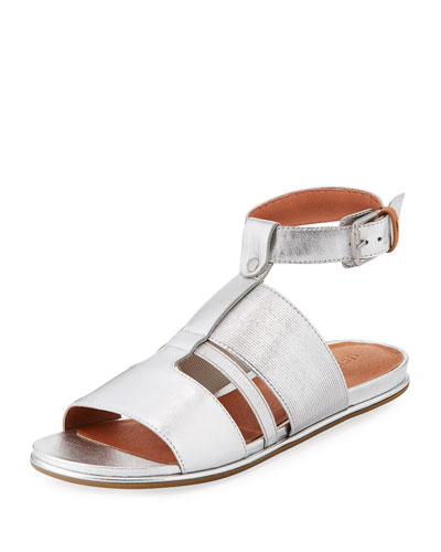 Ophelia Easy Flat Metallic Sandal with Stretch Strap