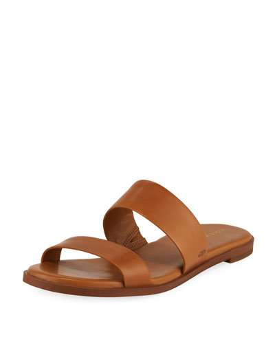 Findra Grand Leather Flat Slide Sandal