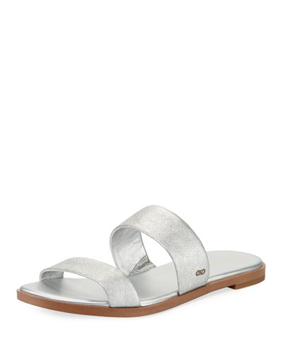 Findra Grand Flat Metallic Leather Slide Sandal