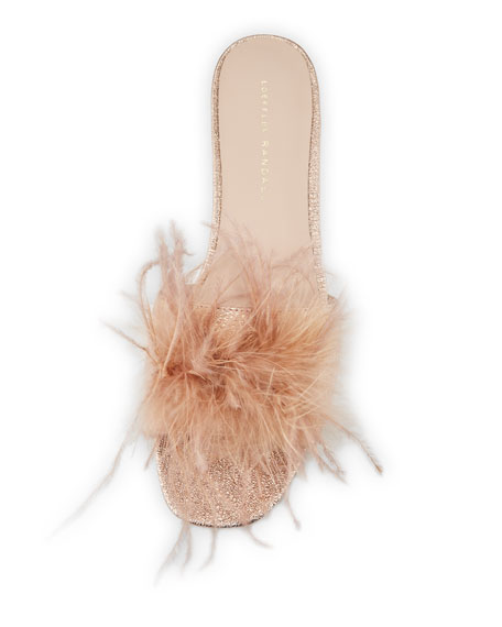 Lilly Crinkle Metallic Slide Sandal with Feather Pom