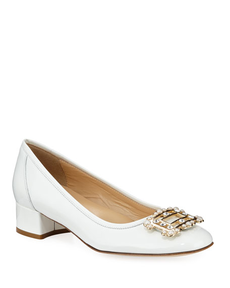Heda Pearly Embellished Pumps, White