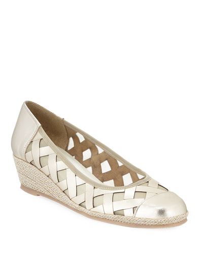 Myra Metallic Napa Wedge Espadrille Pumps