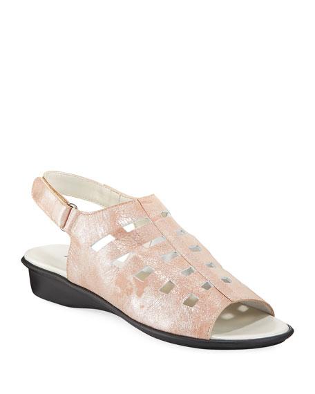 Ellia Laser-Cut Shimmer Leather Comfort Sandal