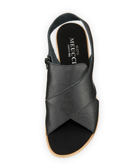 Sabita Cinzano Leather Demi-Wedge Flat Sandal