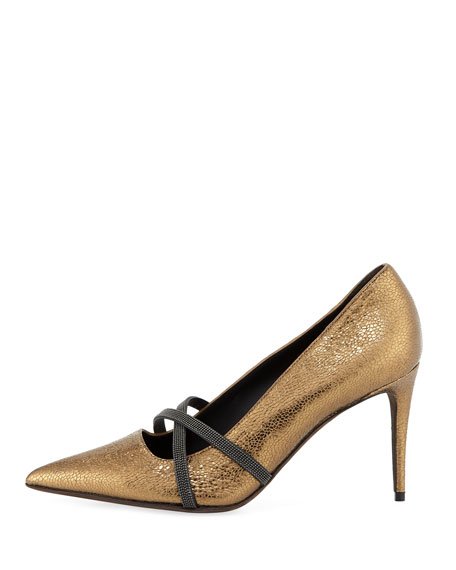 85mm Metallic Leather Cross-Strap Pumps