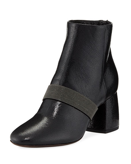 Brunello Cucinelli Shiny Leather Block-Heel Zip Booties with