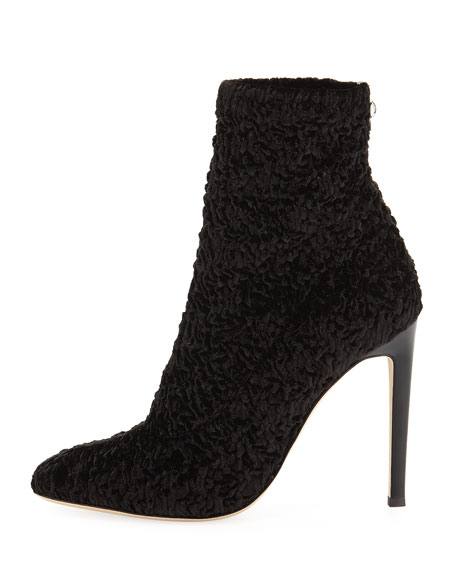 Textured Stretch Velvet Booties