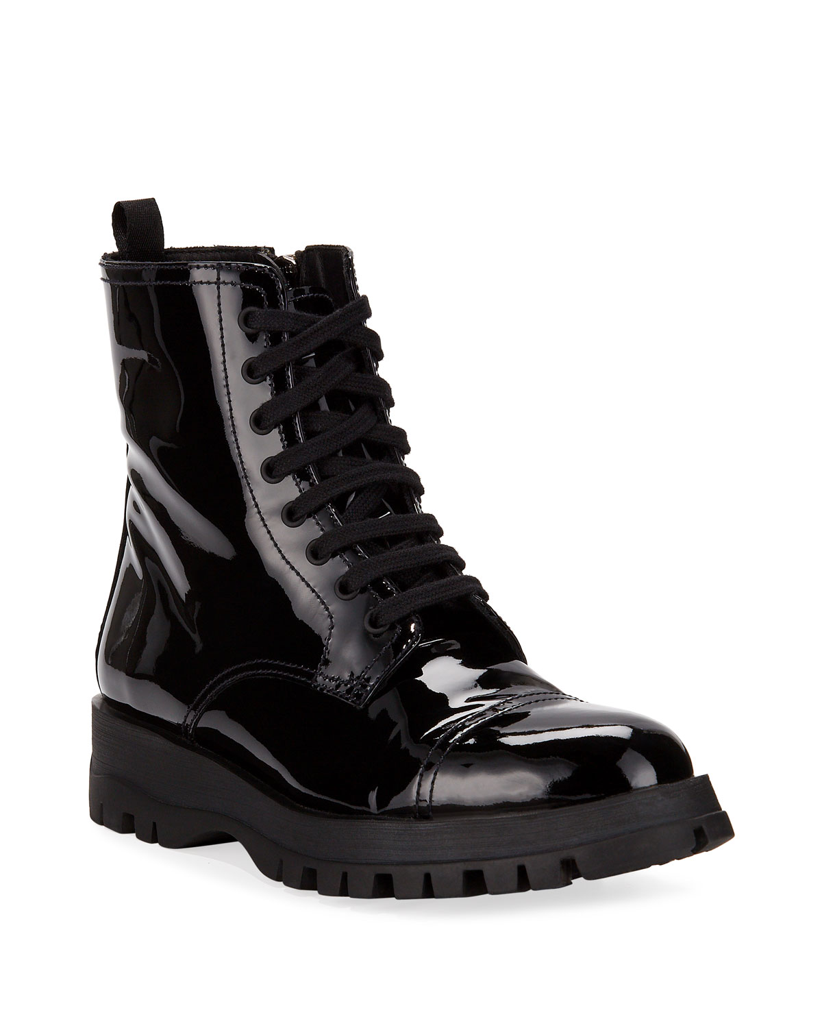b7ed16d03ef3 Prada Patent Leather Lace-Up Boot