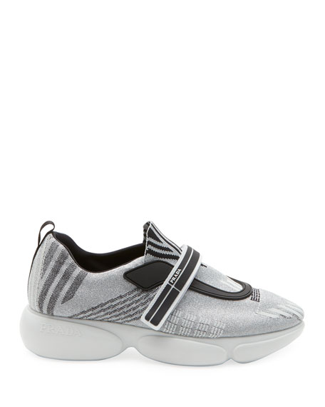 Metallic Knit Trainer Sneakers