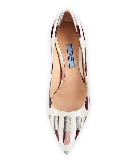 Lipstick-Print Patent Leather Pump