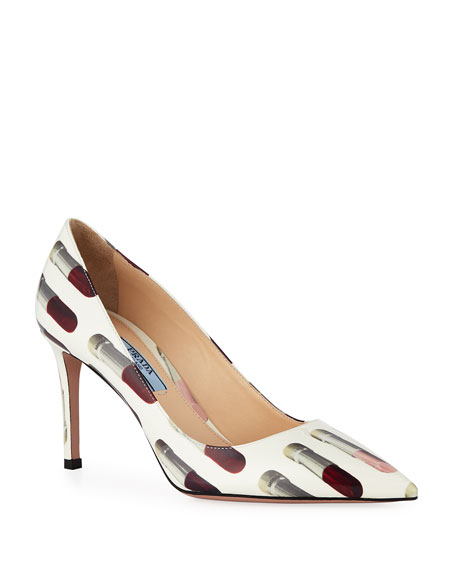 Prada Lipstick-Print Patent Leather Pumps