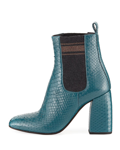 Block-Heel Python Sock-Gore Ankle Booties