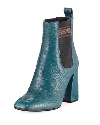 Block-Heel Python Sock-Gore Ankle Bootie