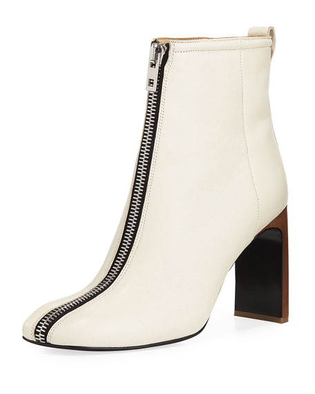 Ellis Zip-Front Leather Ankle Boot