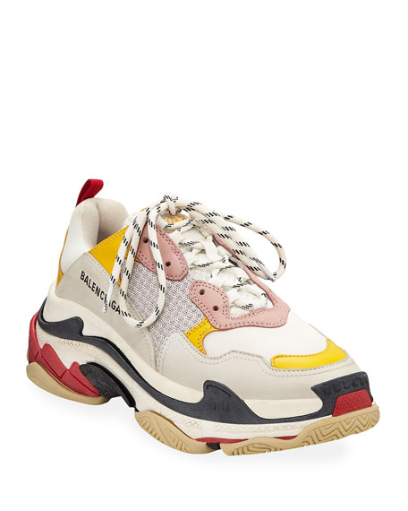 Triple S Logo-Embroidered Leather, Nubuck And Mesh Sneakers, White/ Yellow/ Rose