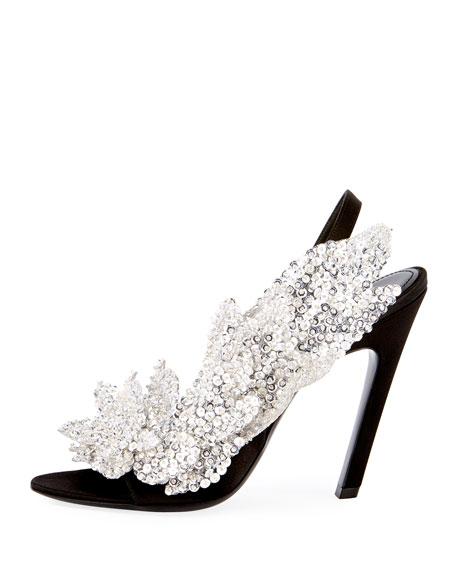 Talon-Heel Satin Embellished Sandal