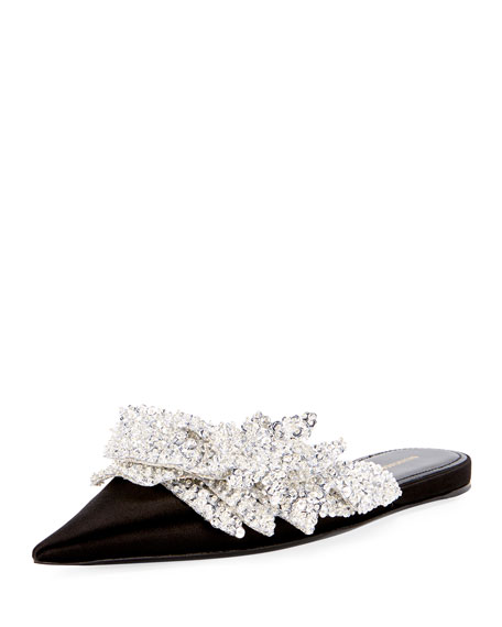 Satin Embroidered Pointed Flat