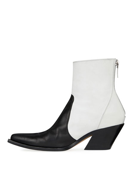 Bicolor Leather Cowboy Booties