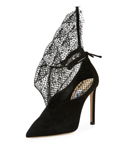 Leanne Suede Pumps with Sculptural Netting