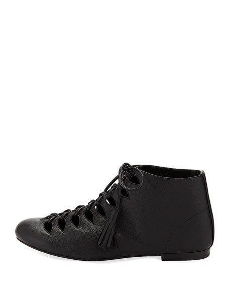 Sunny Napa Leather Tassel Lace-Up Bootie