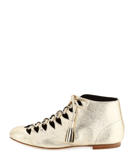 Sunny Metallic Leather Tassel Lace-Up Bootie