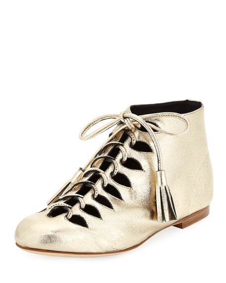 Laurence Dacade SUNNY METALLIC LEATHER TASSEL LACE-UP BOOTIE